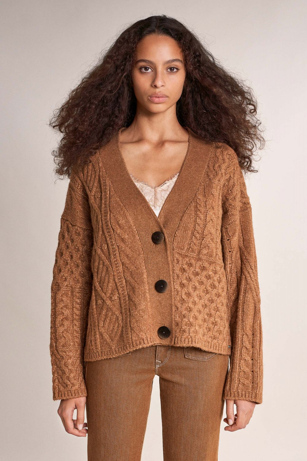 Thick knitted coat with buttons - Salsa