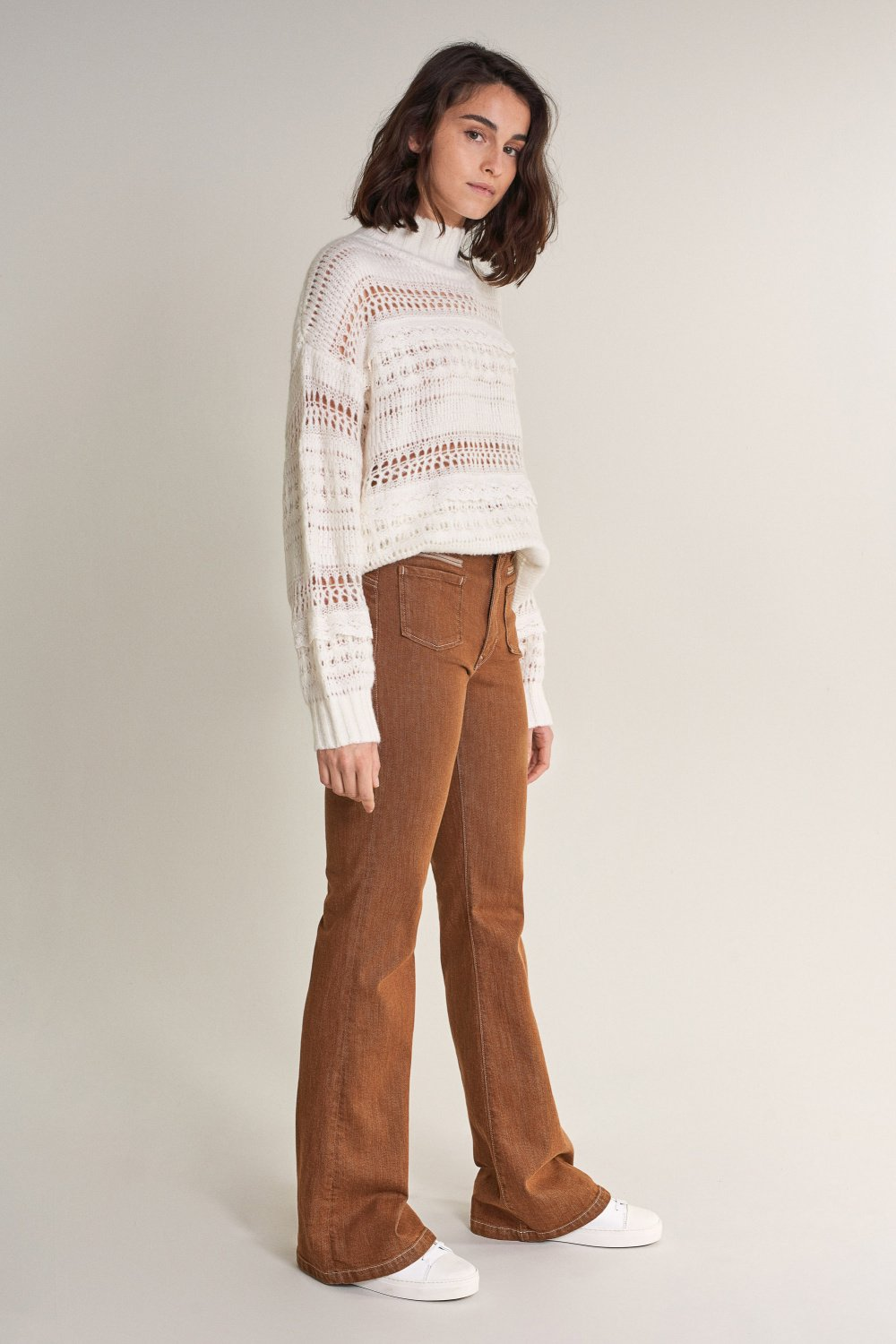 Thick knitted sweater with lace ribbon detail - Salsa