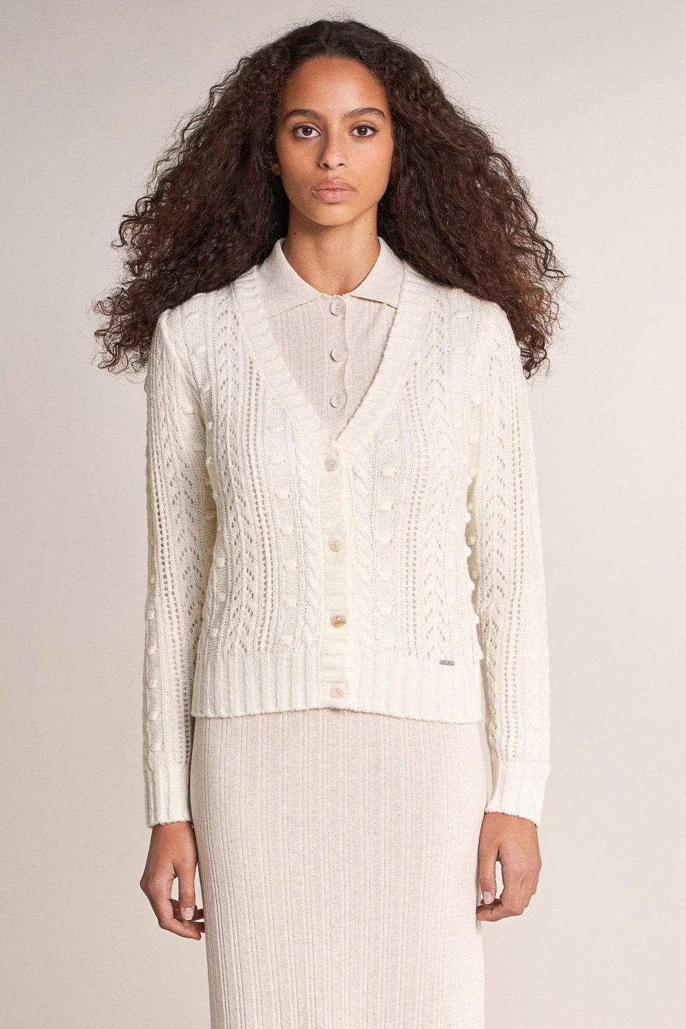 Knitted jacket with plait detail - Salsa