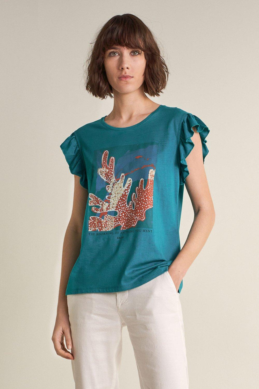 Camiseta grfica coral